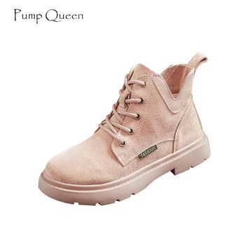 PumpQueen 2018 New Cool Shoes Woman Light Pink Martin Boots Lace Up Classical Boyfriend Women Ankle Boots Female Shoes Cow Suede