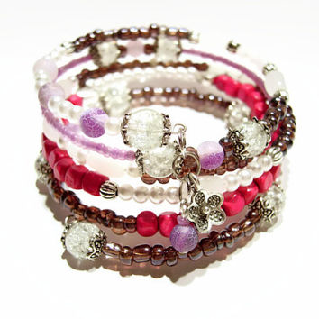 Purple pink white beaded bracelet, Trendy sparkly stylish fancy, Gift for friend mom