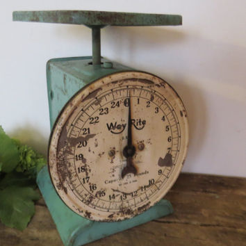 Antique/Primitive Way Rite Family Kitchen Scale Green Farmhouse Primitive Turquoise Green