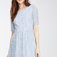 Outlined Floral Lace Fit & Flare Dress
