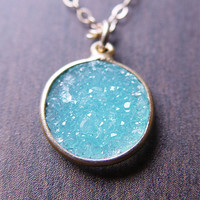 Turquoise Druzy Gold Necklace