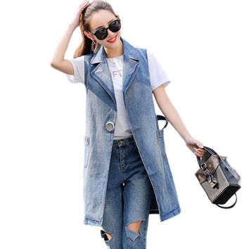 Bust(100-130cm) S-3XL Spring New 2018 Plus Size Summer Jacket Sleeveless Cardigan Ladies Jeans Waistcoats Long Denim Vest Women