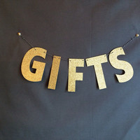 Gifts Wedding Banner in Gold Glitter, Wedding Banner, Gifts Wedding Banner, Gifts Sign, Wedding Decorations, Wedding Sign,Party Decoration
