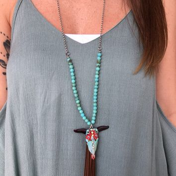 Western style Suede Steer Head necklace
