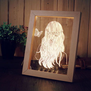 3D Visual Acrylic LED Night Light Creative Wood Frame USB Desk Lamp Real View Sleeping Atmosphere