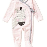 Mud Pie Baby Girls 3-9 Months Zebra-Appliqued Mixed-Print Footed Coveralls | Dillards
