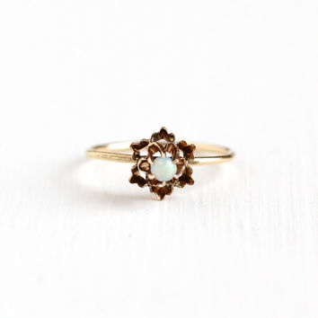 Sale - Antique 14k Rose Gold Opal Solitaire Ring -  Edwardian Round Colorful Gem Size 3 3/4 Stick Pin Conversion Flower Star Fine Jewelry