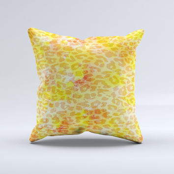 Bright Yellow and Orange Leopard Print ink-Fuzed Decorative Throw Pillow