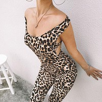 Fashion Sexy Leopard Print Printed Casual Leggings Gym Clothing Fitness Pants Sexy Open Back Hips Push Up Jumpsuits