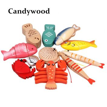 Kids Wooden Toys Wood Sea Animal Toys Blocks Simulation Fish Lobster Shell Wooden Toys For Children