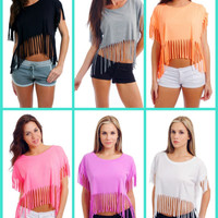 WOMEN'S / JUNIORS BASIC SHREDDED CROPPED TEE SHIRT SEXY FRINGE TOP DRAPED SHIRT