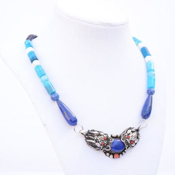 Blue Dragon Necklace. Tibetan Dragon Necklace. Lapis Lasuli Dragon Jewelry. Dragon Pendant. Men's Jewelry. Gemstone Oriental Men's Necklace.