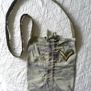 Camouflage Army Patch Purse/Bag Crossover Upcycle Recycle