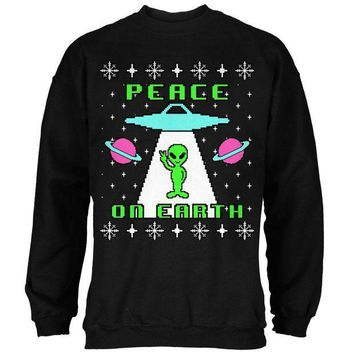 PEAPGQ9 Alien Peace on Earth Ugly Christmas Sweater Mens Sweatshirt