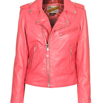 Schott NYC  Ladies Perfecto Pink Lamb skin biker jacket - What's new
