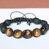 Men's Bracelet, Tiger Eye and Lava, Natural Stone Jewelry, Black and Brown, Handmade Shamballa Bracelet, Adjustable Bracelet