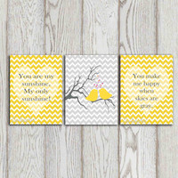 You are my sunshine Nursery quote Yellow Chevron print Gray chevron decor Bird wall art printable Set of 3 Baby girl bedroom decor DOWNLOAD