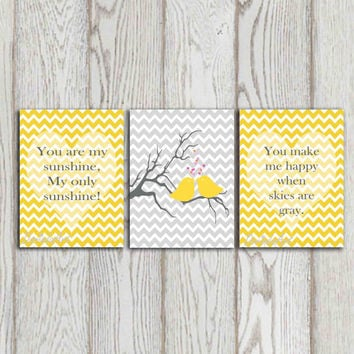 You Are My Sunshine Nursery Quote Yellow Chevron Print Gray Chev