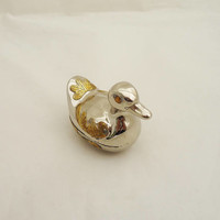Vintage Duck Trinket Box, Pewter and Brass  Duck Trinket Box, Vintage Duck