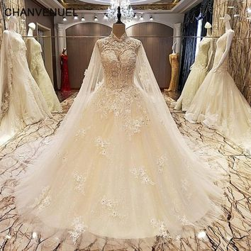 LS89036 elegant lace wedding dress ball gown crystal wedding gowns with long tail robe de mariage 2017 real photos