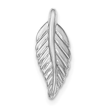 Sterling Silver Rhodium-plated Polished Feather Pendant