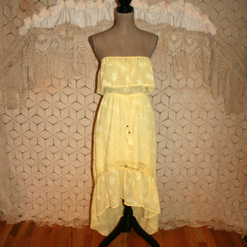 Strapless Dress Yellow Hippie Peasant Dress Boho Dress Beach Dress Shark Bite High Low Dress Summer Dress Anthropologie Small Women Clothing