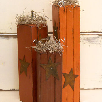 Wooden Pumpkins - Fall Decorations - Primitive Pumpkins - Set of 3 - Rustic Decor - Halloween Decor - Tall Pumpkins - Handmade Pumpkins
