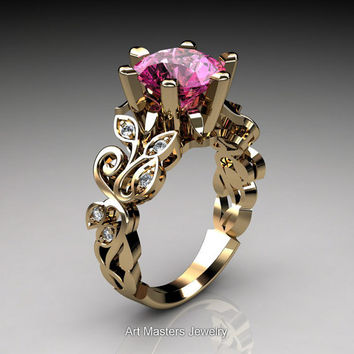 Nature Inspired 14K Yellow Gold 3.0 Ct Pink Sapphire Diamond Leaf and Vine Crown Solitaire Ring RD101-14KYGDPS