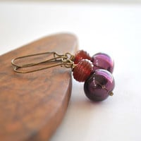 Purple and Red Hollow Blown Glass Earrings, Lampwork Bead Earrings, Long Dangle