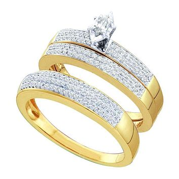 10kt Yellow Gold His & Hers Marquise Diamond Solitaire Matching Bridal Wedding Ring Band Set 1/2 Cttw - FREE Shipping (US/CAN)