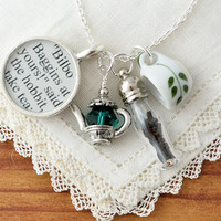Tea with The Hobbit Necklace -  The Hobbit Jewelry - Lord of the Rings by JRR Tolkien - Lotr Jewelry - Hobbit Costume - Lotr Cosplay