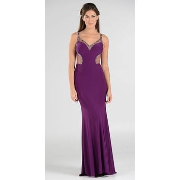 Poly USA 7692 V-Neck Long Formal Dress Sequins Open Back Cutouts Magenta