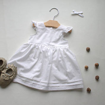 Infant Dress - Premium Baby Outfit - Cotton Baby Dress - White Baby Dress - Cotton Flutter Dress-Baby Shower Gift - Made 4U Handmade Designs