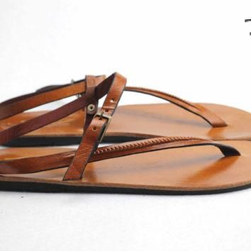 Ancient Greek Roma Sandals Genuine Leather Buffalo Leather Shoes Flip Flops Slippers V