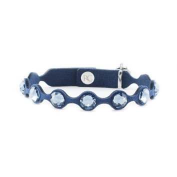 Rustic Cuff - Leah Scalloped Navy Blue with Dark Blue Crystals