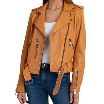 Bagatelle Women's Washed Leather Biker Jacket, Butterscotch, Small