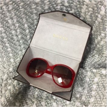 Gucci Oversized Red Frame Sunglasses