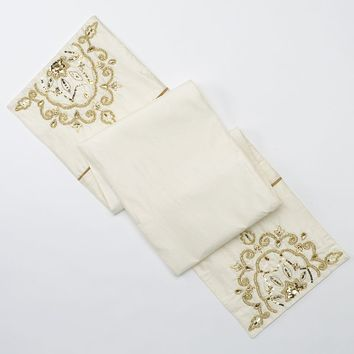 Spencer Haley Medallion Beaded Table Runner (White)