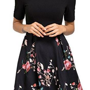 Sviuse Women's Vintage Patchwork Pockets Puffy Swing Casual Floral Evening A-line Cocktail Party Dress
