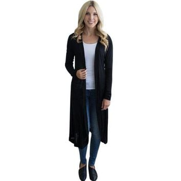 DCCKU7Q Long Sleeve Maxi Cardigan