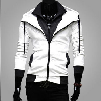 Mens Slim Double Zipper Hoodie