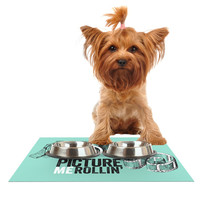 "KESS Original ""Picture Me Rollin"" Mint Dog Place Mat"
