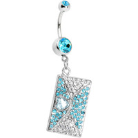 Aqua Gem Love Letter Dangle Belly Ring | Body Candy Body Jewelry