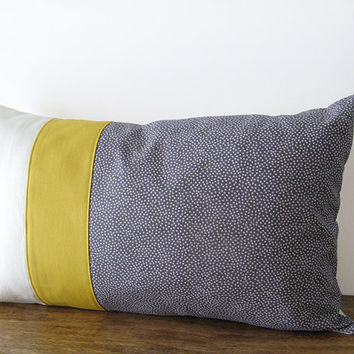 Grey polka dot pillow cover with mustard yellow detail - 50x30cm (20x12inches)