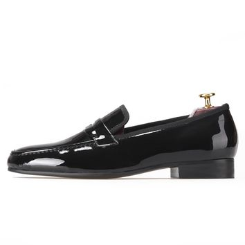 Classic Designed Black Patent Leather Shoes Men Party and Wedding Loafers Men Flats Size US 5-14 Free shipping