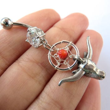 Belly Button Ring Jewelry Navel Piercing Coral Cow Dream Catcher Bull Skull Longhorn Long Horn Charm Dangle Belly Ring