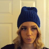 Blue Hand Knitted Beanie Hat/ Winter Accessory/ Winter Wear Women/ Teen Girls Hand Knit Slouchy Hats Winter Knit Fashion Gift for her