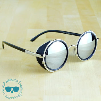 Leather Side Sunglasses - Round Metal Aviator Awesome Eyewear {Mirror Lenses}