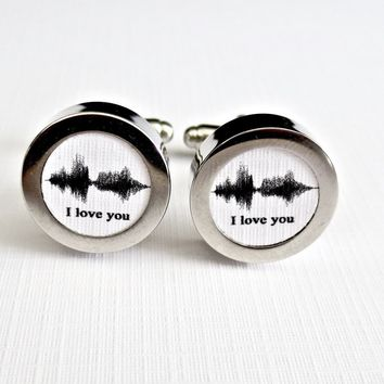 Sound Wave Art Cufflinks Paper 1st Anniversary