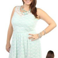 plus size mint green lace high low dress - debshops.com